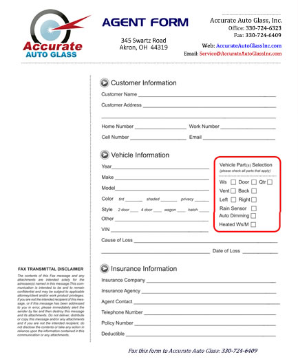 Accurate Auto Glass Agent Form